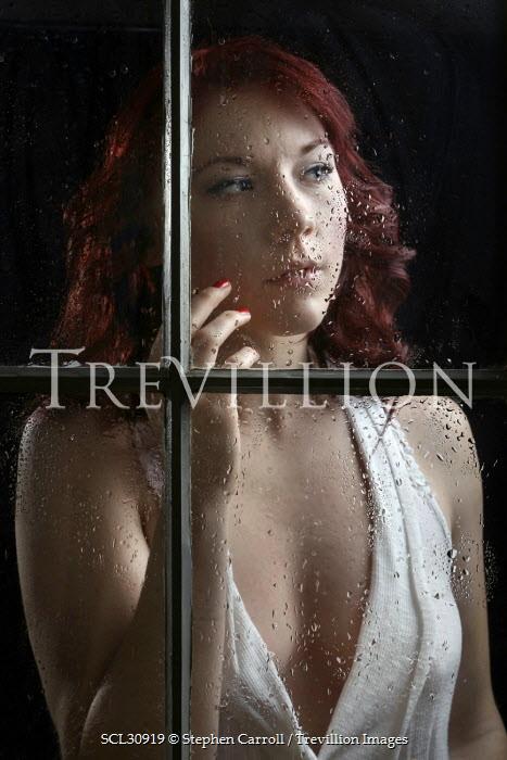 Stephen Carroll NERVOUS WOMAN WATCHING AT WINDOW Women