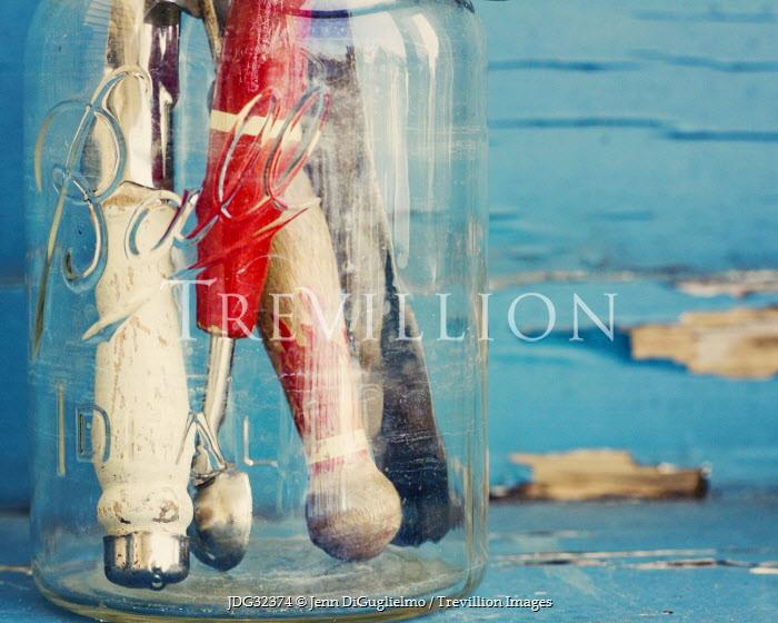Jenn DiGuglielmo OLD GLASS JAR WITH UTENSILS Miscellaneous Objects