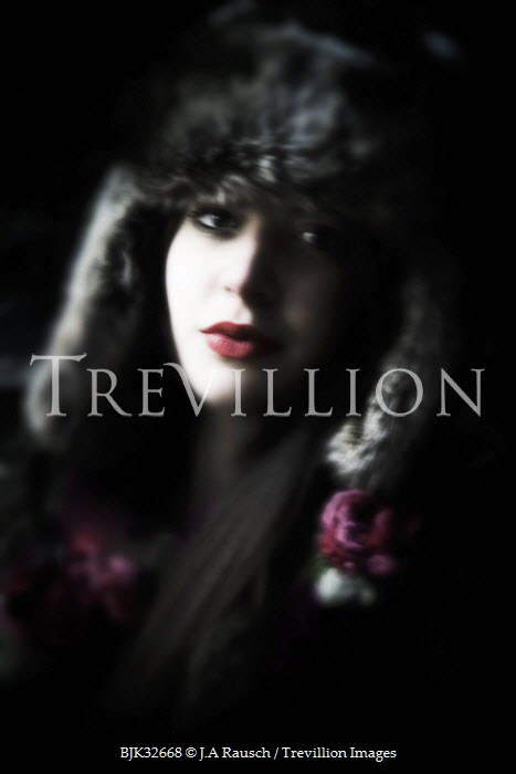 J.A Rausch BEAUTIFUL WOMAN IN FUR HAT Women