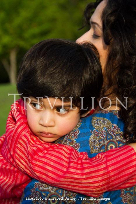 Elisabeth Ansley INDIAN BOY HUGGING MOTHER OUTDOORS Children
