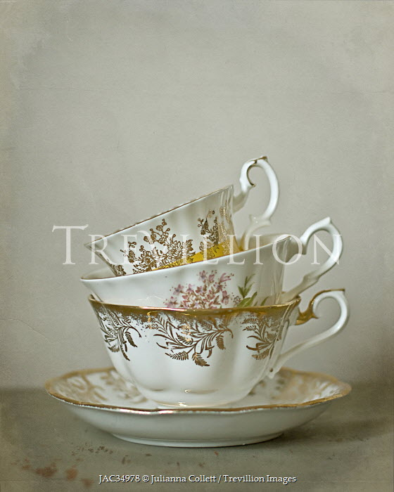 Julianna Collett WHITE CHINA CUPS AND SAUCER Miscellaneous Objects