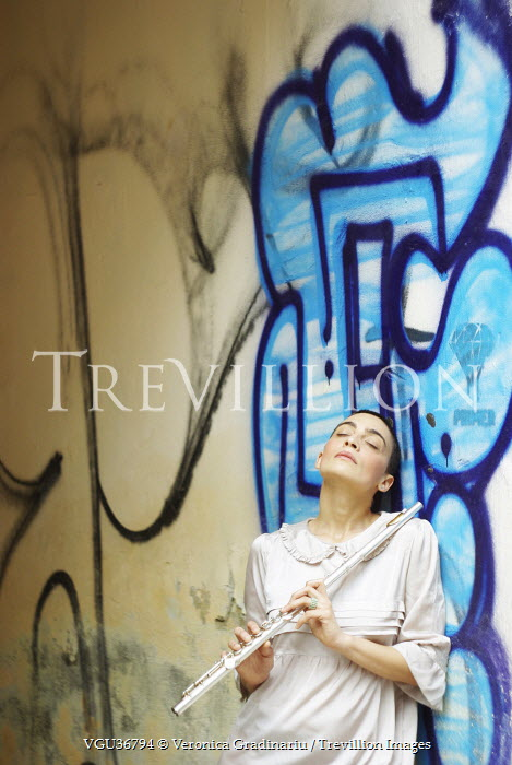 Veronica Gradinariu WOMAN WITH FLUTE BY GRAFFITI Women
