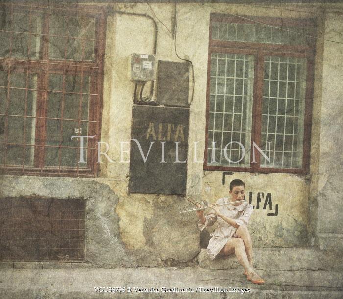 Veronica Gradinariu WOMAN IN STREET PLAYING FLUTE Women