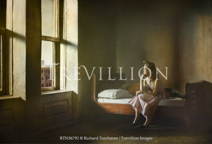 Richard Tuschman WOMAN SITTING ON BED Women