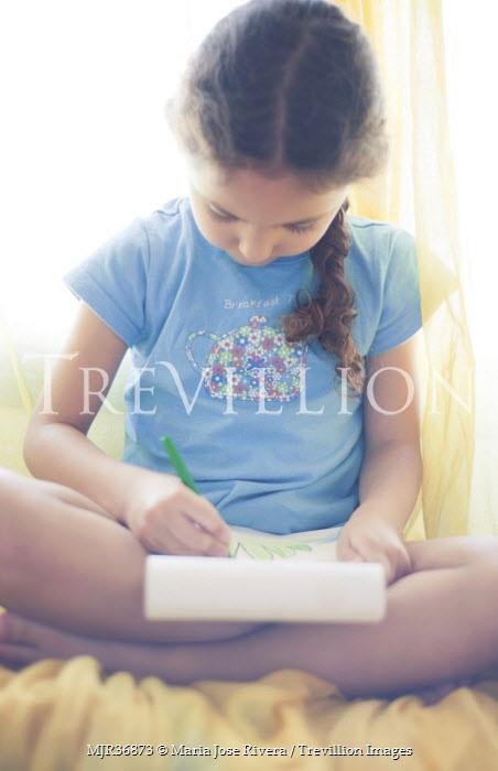 Maria Jose Rivera LITTLE GIRL SITTING WRITING Children