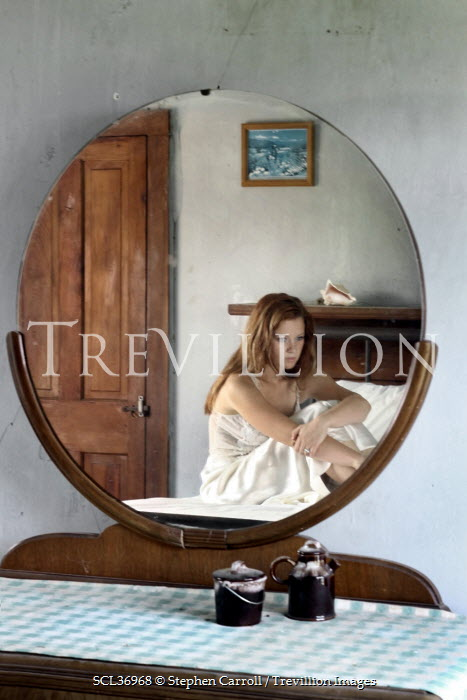 Stephen Carroll WOMAN REFLECTED IN BEDROOM MIRROR Women