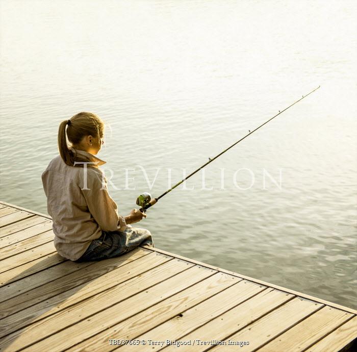 Terry Bidgood GIRL ON JETTY FISHING Women