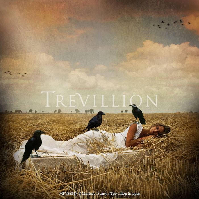 Mariesol Fumy WOMAN WITH BIRDS IN FIELD Women