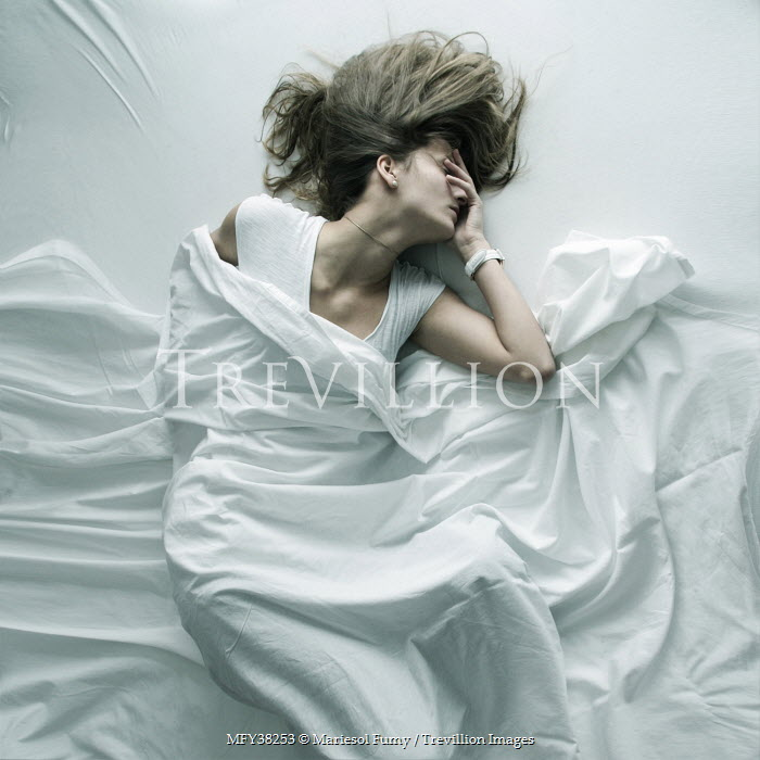 Mariesol Fumy ANXIOUS WOMAN IN WHITE BED Women