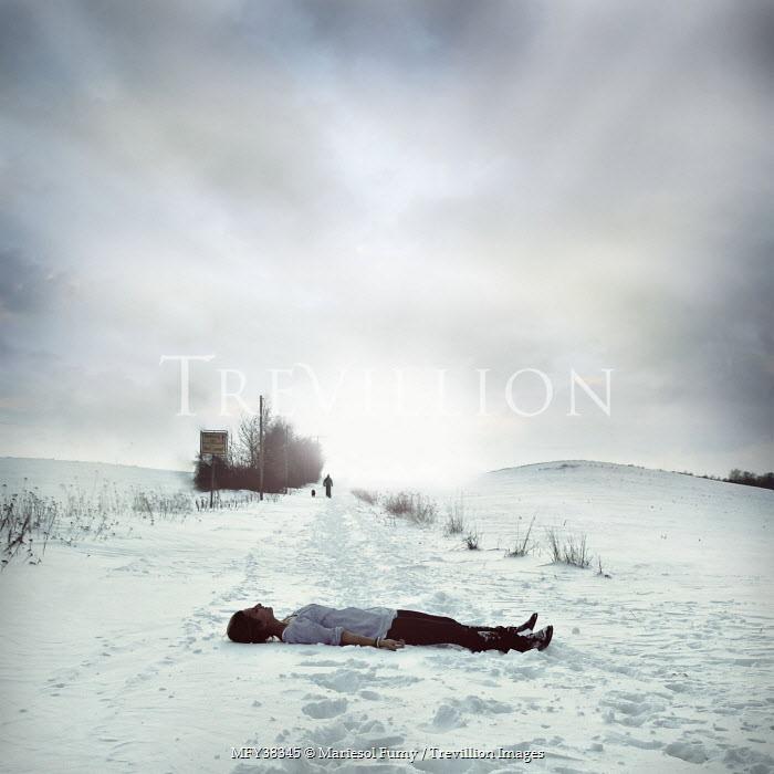 Mariesol Fumy WOMAN LYING IN SNOWY COUNTRYSIDE Women