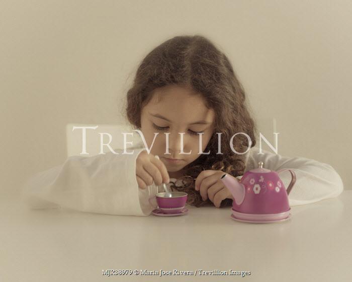 Maria Jose Rivera GIRL WITH TOY TEA SET Children