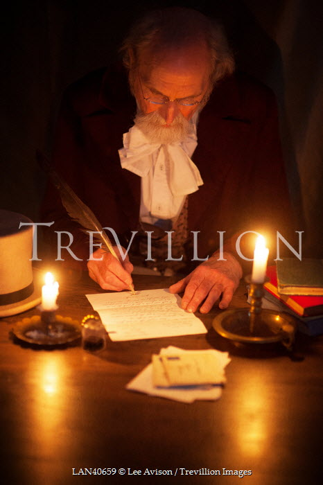 Lee Avison VICTORIAN MAN WRITING BY CANDLELIGHT Old People