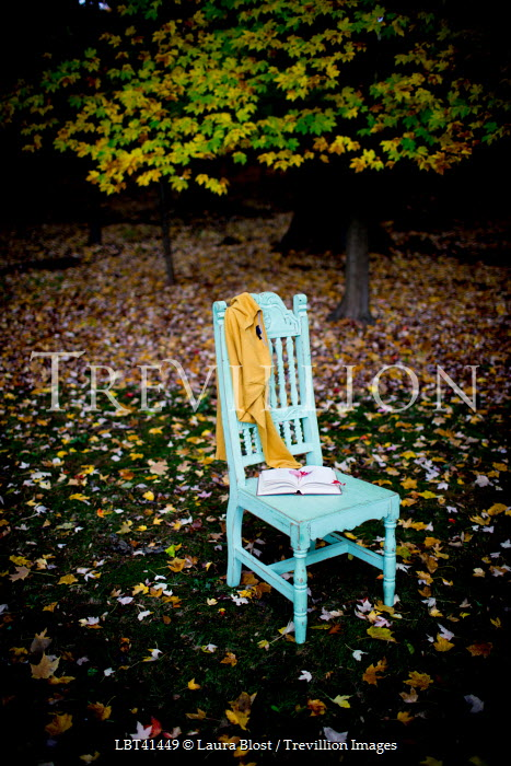 Laura Blost CHAIR IN GARDEN WITH JUMPER AND BOOK Miscellaneous Objects
