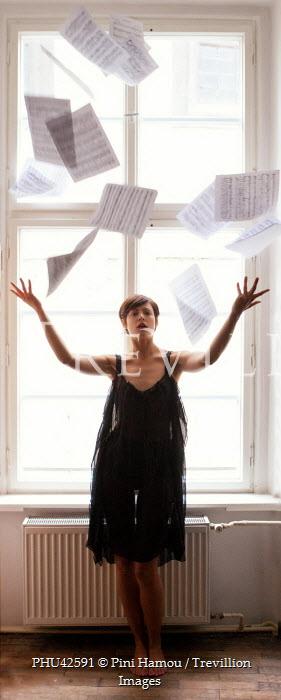 Pini Hamou WOMAN BY WINDOW THROWING PAPERS Women