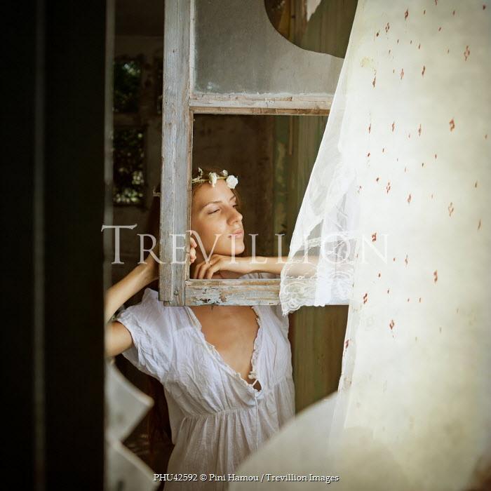 Pini Hamou WOMAN WATCHING BY BROKEN WINDOW Women