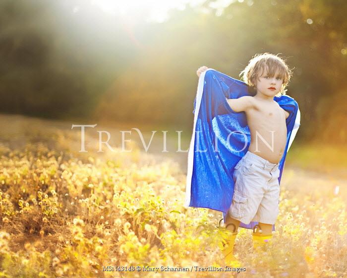 Mary Schannen BOY STANDING IN SUNLIT FIELD Children