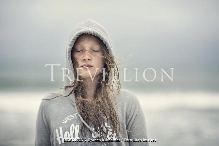 Doreen Kilfeather TEENAGE GIRL WITH HOOD AND WIND IN HAIR Women