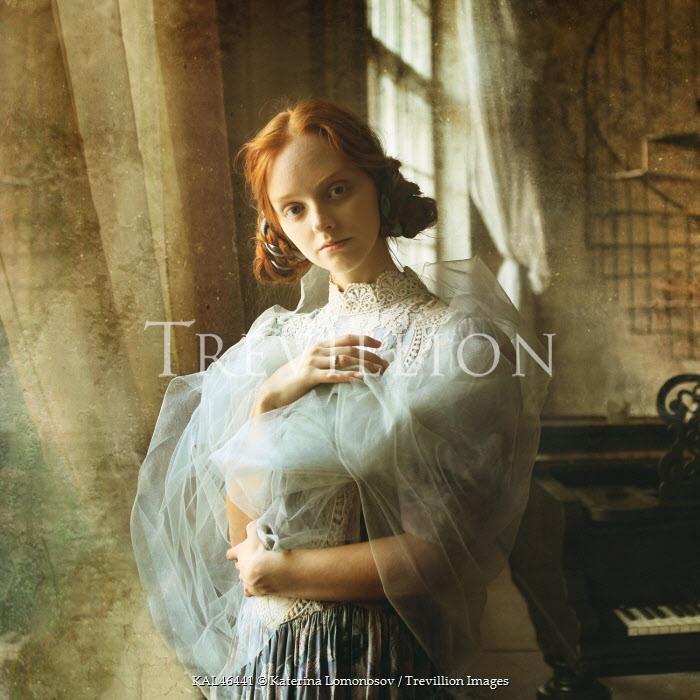 Katerina Lomonosov HISTORICAL WOMAN WITH PIANO BEHIND Women