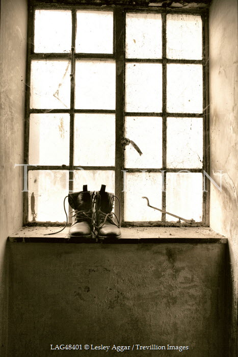 Lesley Aggar OLD LEATHER BOOTS ON WINDOWSILL Miscellaneous Objects