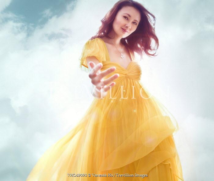 Vanessa Ho SMILING WOMAN IN DRESS UNDER BLUE SKY Women