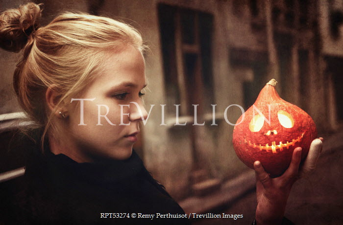 Remy Perthuisot GIRL WITH JACK-O-LANTERN Women