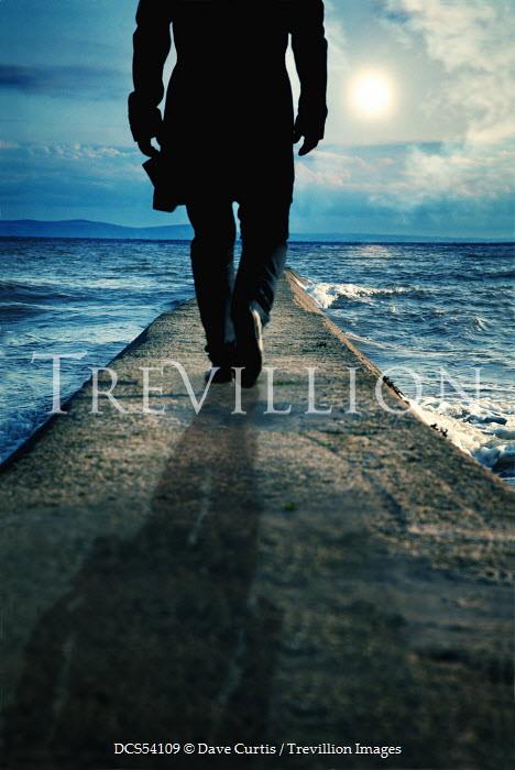 Dave Curtis MAN WALKING ON STONE PIER Women