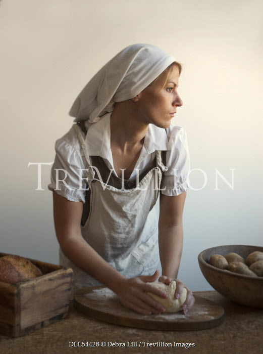 Debra Lill WOMAN KNEADING BREAD Women