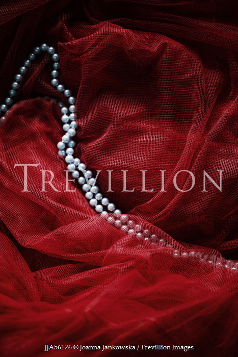 Joanna Jankowska PEARL NECKLACE ON RED MATERIAL Miscellaneous Objects