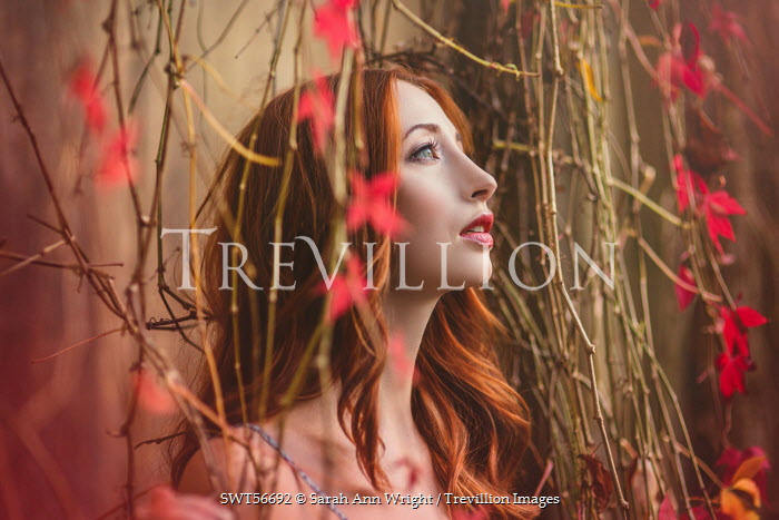 Sarah Ann Wright RED HAIRED WOMAN STANDING AMONGST VINES Women