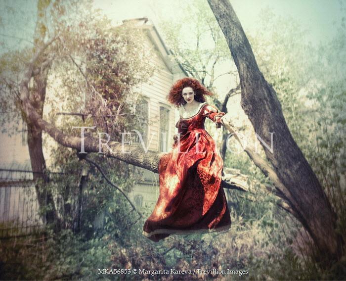 Margarita Kareva WOMAN IN VELVET DRESS IN TREE Women