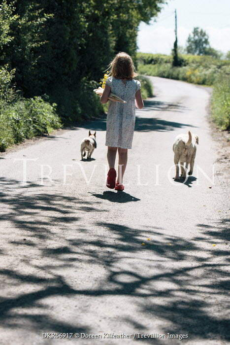 Doreen Kilfeather GIRL WITH DOGS ON COUNTRY ROAD Children