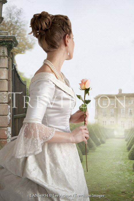 Lee Avison WOMAN WITH ROSE BY COUNTRY HOUSE Women
