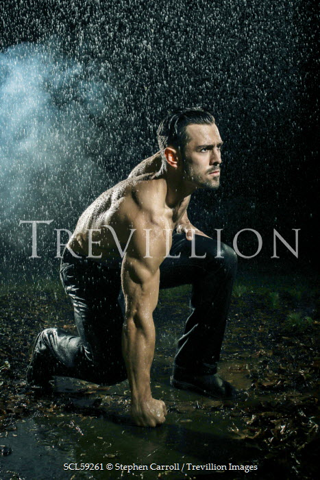 Stephen Carroll MUSCLY YOUNG MAN IN THE RAIN Men
