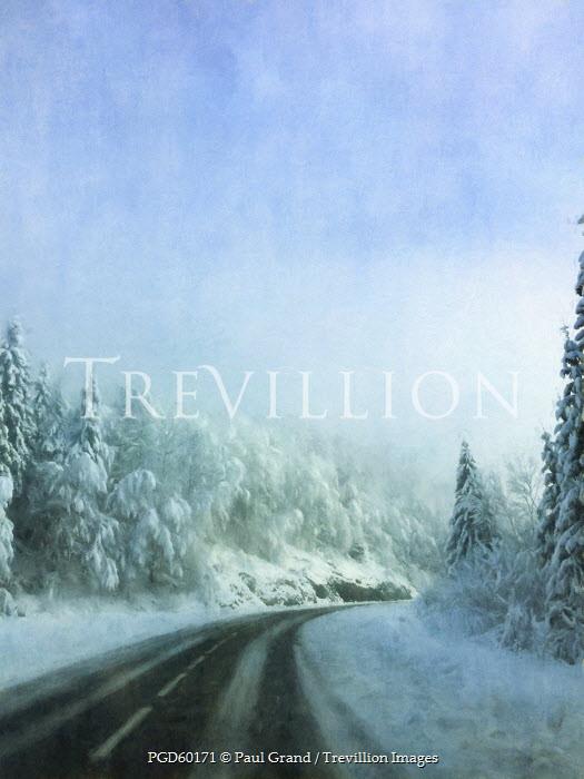 Paul Grand ROAD THROUGH SNOWY LANDSCAPE Roads