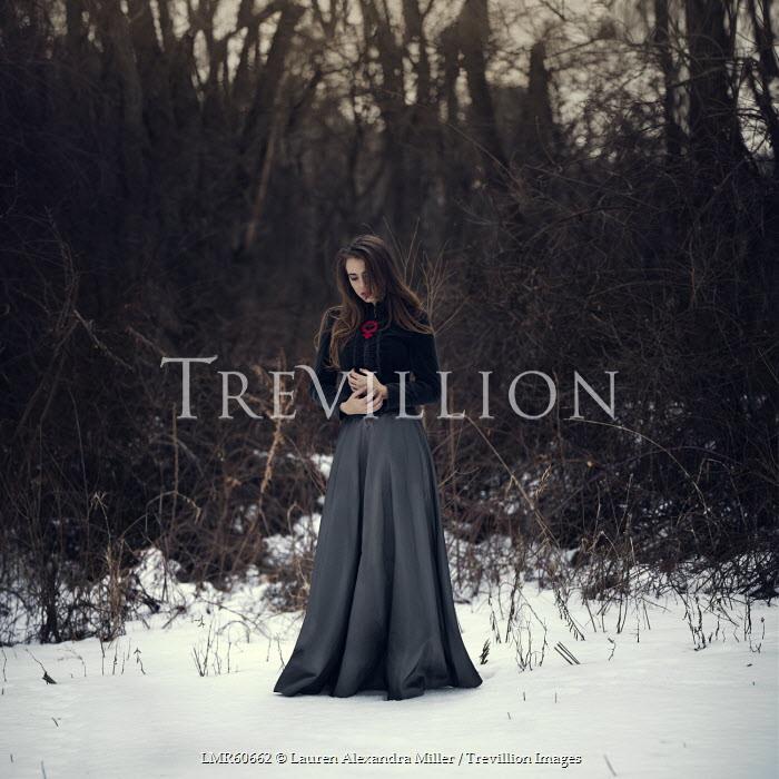Lauren Alexandra Miller SAD WOMAN STANDING IN SNOW Women