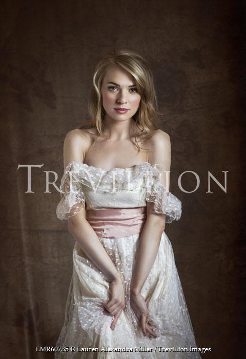 Lauren Alexandra Miller WOMAN WEARING WHITE DRESS OFF SHOULDERS Women