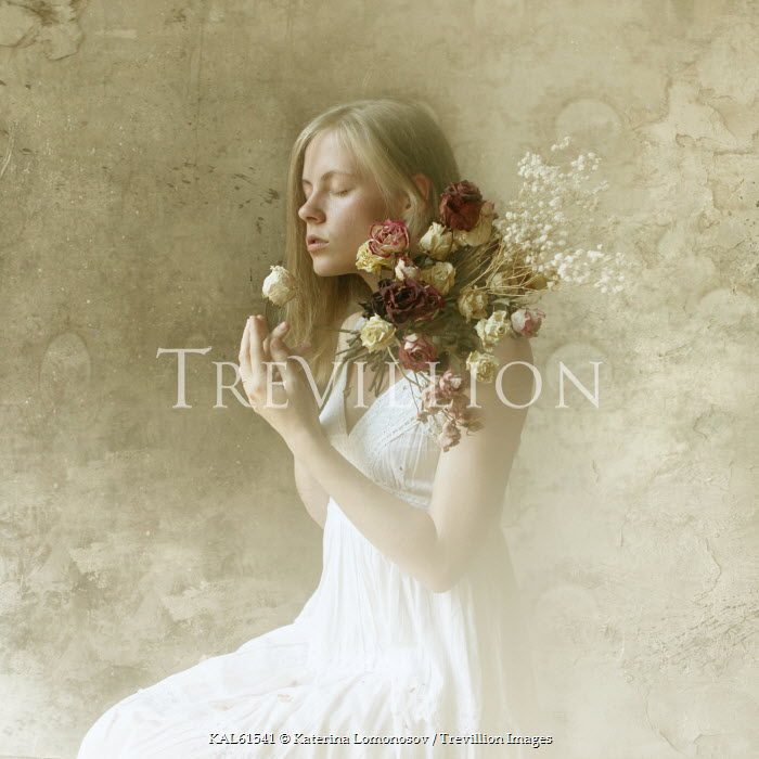 Katerina Lomonosov YOUNG WOMAN IN WHITE WITH FLOWERS Women