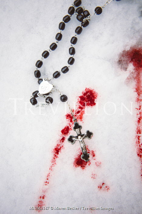 Maren Becker ROSARY BEADS AND CROSS NEAR BLOOD ON SNOW Miscellaneous Objects