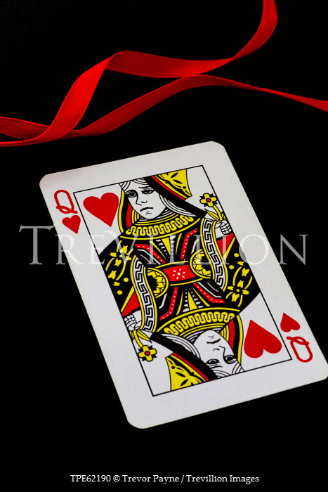 Trevor Payne QUEEN OF HEARTS PLAYING CARD AND RED RIBBON Miscellaneous Objects