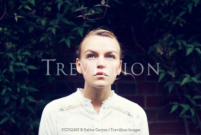 Rekha Garton YOUNG BLONDE WOMAN NEAR LEAVES OUTSIDE Women