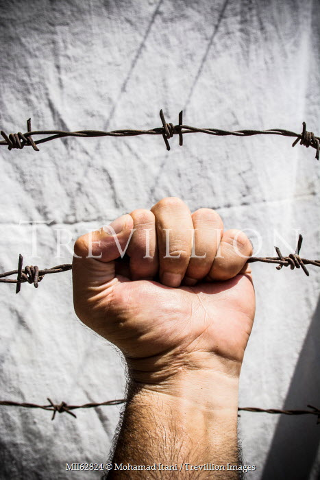 Mohamad Itani MANS HAND CLUTCHING BARBED WIRE Men