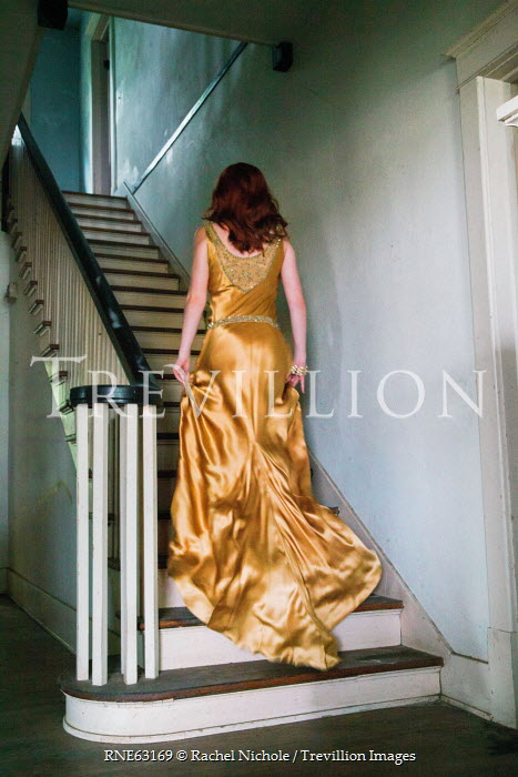 Rachel Nichole RETRO WOMAN IN YELLOW DRESS ON STAIRS Women