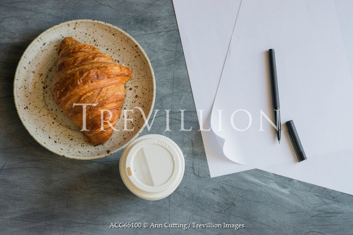 Ann Cutting CROISSANT AND COFFEE ON TABLE Miscellaneous Objects
