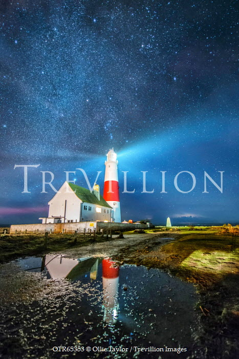 Ollie Taylor LIGHTHOUSE AND LAKE UNDER STARRY SKY Miscellaneous Buildings