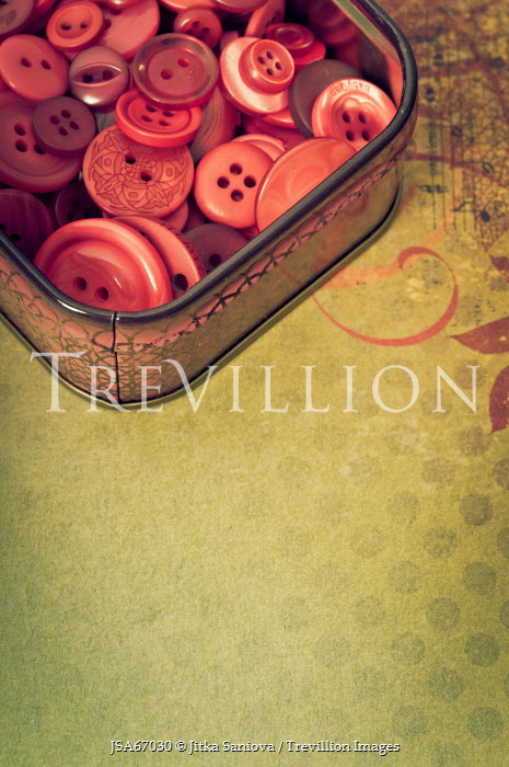 Jitka Saniova TIN OF BUTTONS ON PATTERNED BACKGROUND Miscellaneous Objects