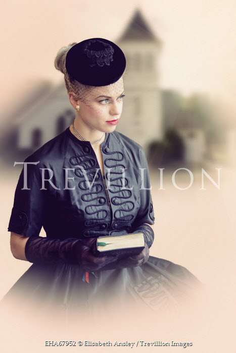 Elisabeth Ansley YOUNG RETRO WOMAN HOLDING BOOK Women