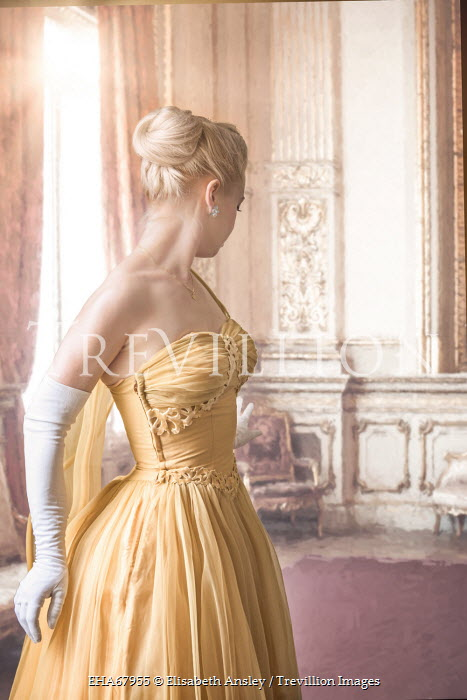 Elisabeth Ansley WOMAN IN YELLOW GOWN IN GRAND ROOM Women