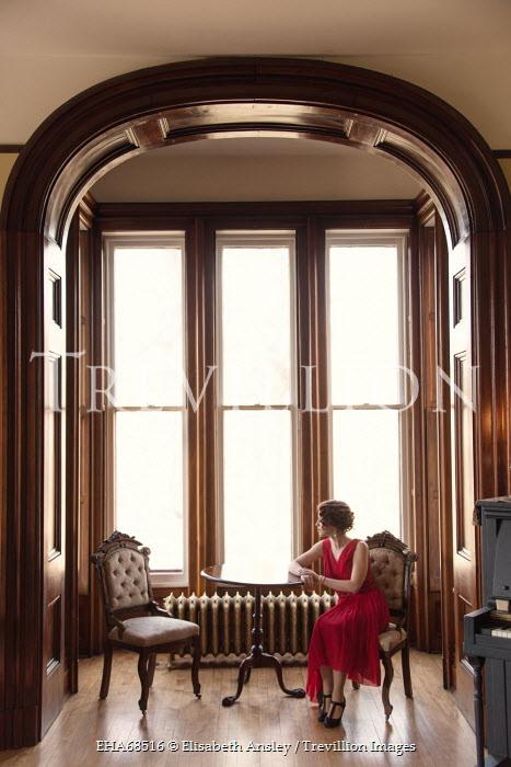 Elisabeth Ansley VINTAGE WOMAN SITTING AT TABLE Women
