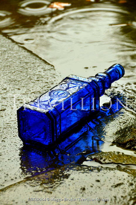 Maggie Brodie BLUE BOTTLE LYING ON RAINY SIDEWALK Miscellaneous Objects