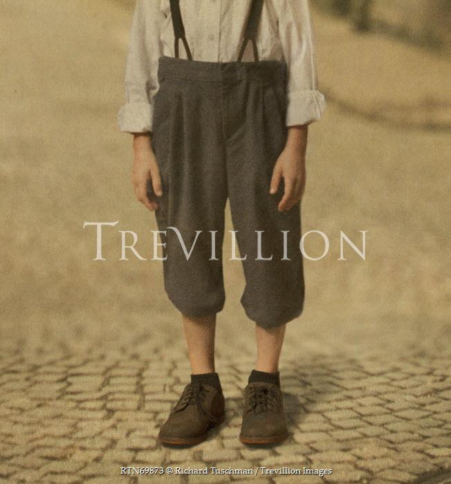 Richard Tuschman RETRO BOY ON COBBLED STREET Children
